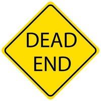 Dead End yellow sign on white backrgound