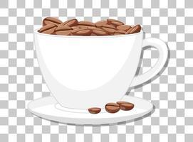 Granos de café en una taza aislada sobre fondo transparente
