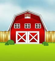 Red barn cartoon style on green and sky background vector