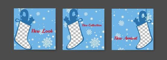 Social media post templates with winter stocking theme