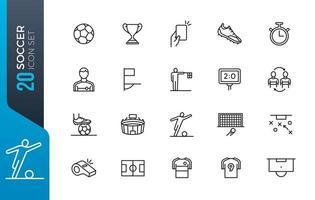 Minimal soccer icon set vector