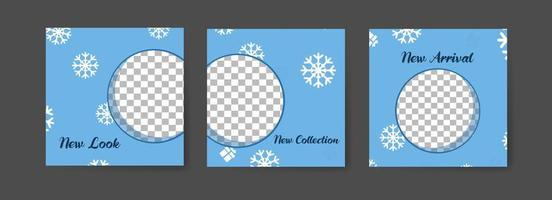 Social media post templates with winter snowflake theme