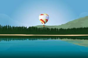 Hot air balloon flies over lake and coniferous forest vector