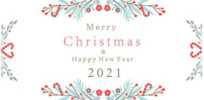 Merry Christmas New Year 2021 design with floral branches