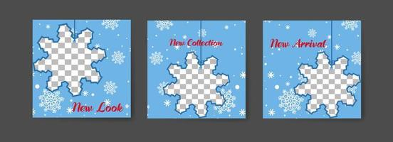 Social media post templates with snowflake theme