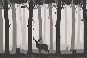 paisaje horizontal con bosque caducifolio y ciervos vector