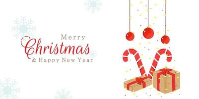 Merry Christmas New Year design with candy and gifts