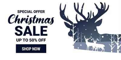 banner de marketing de promoción de venta de navidad e invierno vector