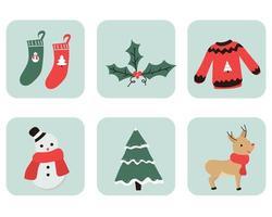 conjunto de elementos navideños de dibujos animados