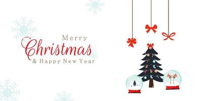 Merry Christmas New Year design with snow globes and tree