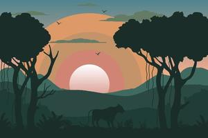 Tropical morning landscape vector
