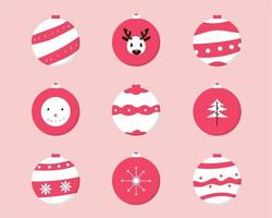 Red and White Christmas Baubles Set