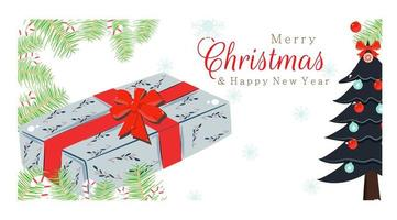 Merry Christmas New Year design with gift and treee