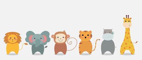 conjunto de dibujos animados de animales de la selva
