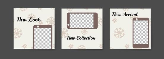 Social media post templates with winter smartphone theme