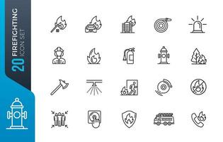 Set of firefighter line icons