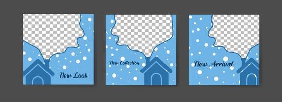 Social media post templates with winter home theme