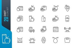 Diet and gym icon set vector