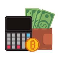 símbolos de dinero digital de criptomoneda bitcoin