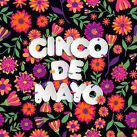 Seamless pattern with flowers and Cinco De Mayo text vector