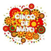 Abstract Cinco De Mayo design with ethnic ornaments vector