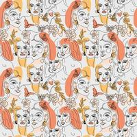 Set of female faces, minimal line style pattern vector