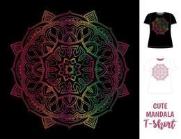 camiseta de mujer oscura con mandala de colores