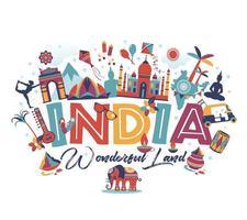 Travel India elements panorama design vector