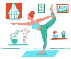 mujer haciendo yoga en casa vector