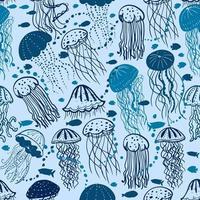 Blue jellyfish seamless pattern