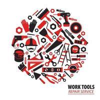 Construction and repair tools circular design vector