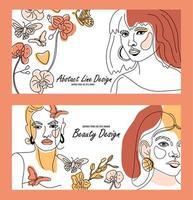 conjunto de rostros femeninos, banners de estilo de línea mínima. vector