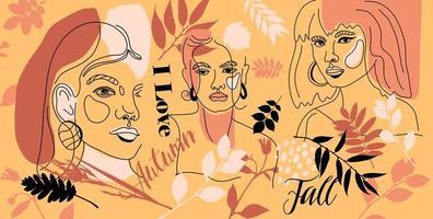 conjunto de rostros femeninos, estilo de línea mínima vector