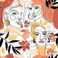 Set of female faces, minimal line style vector