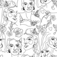 Female faces, minimal line style pattern vector