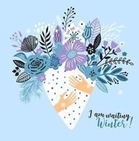 tarjeta de invierno con un ramo de flores. vector