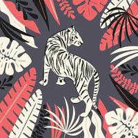 Hand drawn white tiger with exotic tropical leaves, flat vector illustration
