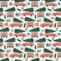 patrones sin fisuras con coches rojos y árboles de navidad vector