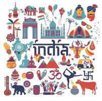 Indian architecture, Asian traditions, icons and symbols vector