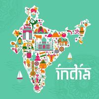 Traditional symbols, in the form of a map of India vector