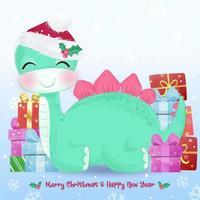 Christmas greeting card with cute green dinosaur vector