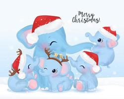 Christmas greeting card with cute elephant's family