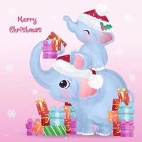 Christmas greeting card with cute mommy and baby elephant