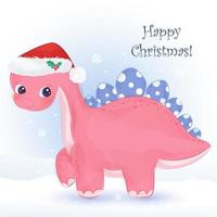 Christmas greeting card with cute pink dinosaur vector