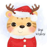 Christmas greeting card with cute tiger vector