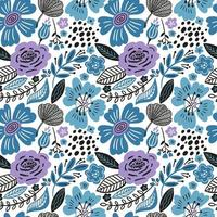Floral seamless pattern with winter colors