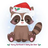 Christmas greeting card with cute baby raccoon vector