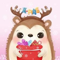 Christmas greeting card with cute hedgehog vector