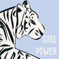 Hand drawn tiger with feminist phrase and message