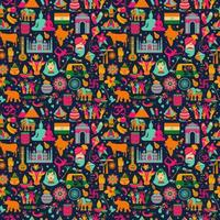 Traditional symbols of India, seamless pattern on dark vector
